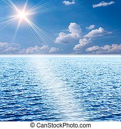 gele zon, set, ertussen, van, de, oceaan