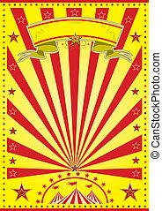 gele, zonnestraal, circus