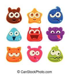 gelei, illustratie, vector, emotions., karakters, kleurrijke