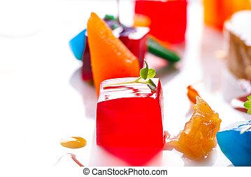 gelei, kleurrijke, vruchten, gelatine, op wit
