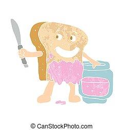 geleia, fatia, caricatura, pão