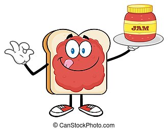 geleia, fatia, jarro, segurando, pão