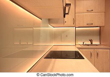geleide, moderne, gele, verlichting, luxe, keuken