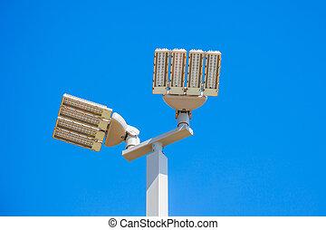 geleide, straat lampen, achtergrond, post, witte