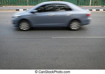 geleider, auto, vasten, vage motie, straat