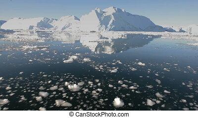 geleider, door, ijs, in, arctisch, water