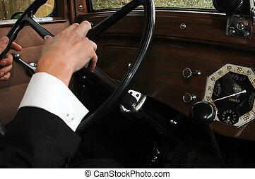 geleider, een, oud, auto