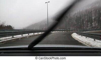 geleider, in, sneeuw
