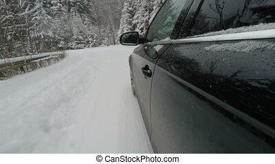 geleider, op, een, sneeuw, straat