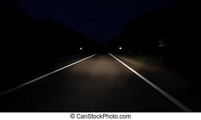 geleider, op, nacht, straat