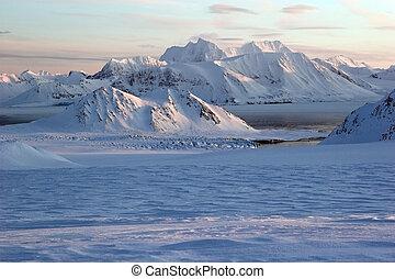 geleira, ártico, paisagem