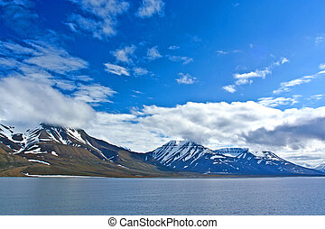 geleira, em, a, oceano ártico