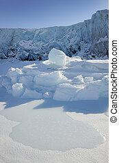 geleira, gelo, terminando, sea., frente, pacote