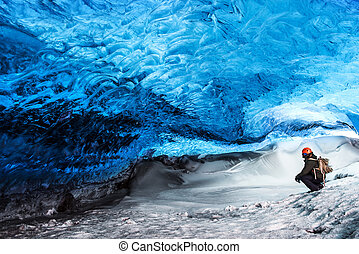 geleira, islândia, caverna, gelo