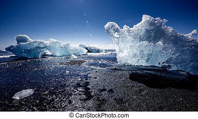 geleira, islândia, lagoa, jokulsarlon, vista