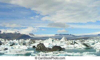 geleira, islândia, lapso, tempo