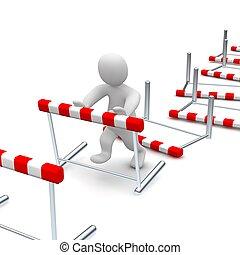 geleistet, illustration., hurdles., klopfen hinunter, mann, oder, überwinden, 3d