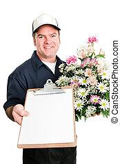 geleverde, verse bloemen, boodschap, u