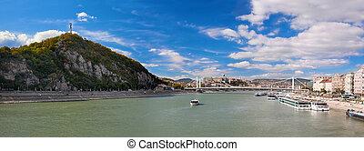 Gellert Hill and Danuber River. Budapest, Hungary.