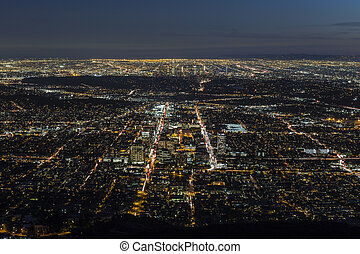 Gelndale and Los Angeles Night Aerial