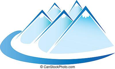 gelo azul, montanhas, logotipo, vetorial