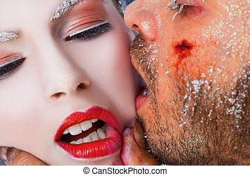 gelo, bacio, trucco