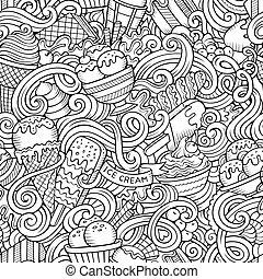 gelo, doodles, padrão, caricatura, creme, hand-drawn, ...