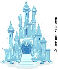 gelo, ilustração, castelo