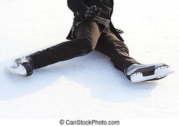 gelo, pés, rink, patins, caído, homem
