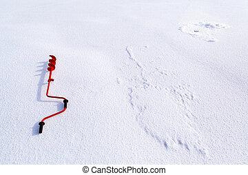 gelo, parafuso, congelado, inverno, lago