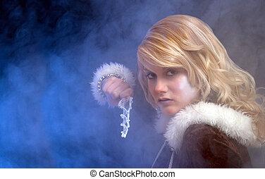 gelo, princesa, segurando, um, icicle, batuta