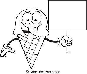 gelo, silício, cone, segurando, caricatura, creme