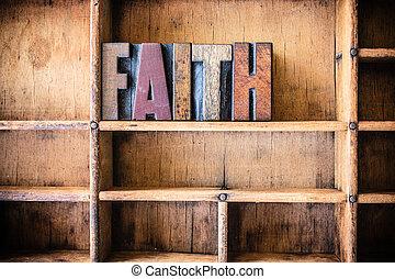 geloof, concept, houten, letterpress, thema