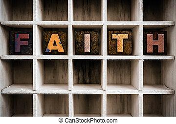 geloof, concept, houten, letterpress, type, in, trekken