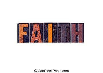 geloof, concept, vrijstaand, letterpress, type