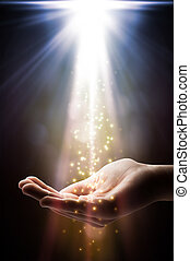 geloof, dalingen, op, jouw, hand