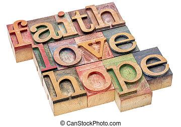 geloof, liefde, en, hoop, woord, abstract