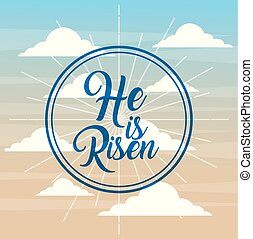 geloof, risen, katholiek, poster, hemel, achtergrond, hij
