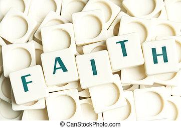 geloof, woord, gemaakt, door, leter, stukken