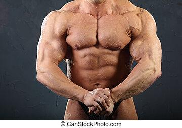 gelooide, spierballen, torso, nat, ongekleed, sterke, bodybuilder, hand