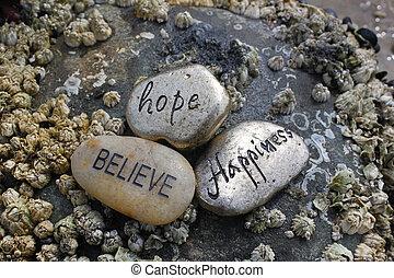 geloven, hoop, geluk, rotsen