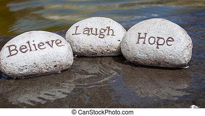 geloven, lach, hoop, rocks.