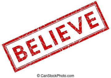 geloven, rode plein, postzegel, vrijstaand, op wit, achtergrond
