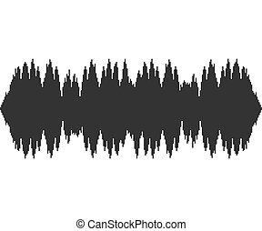 geluid, achtergrond., witte , muziek, technologie, black , audio, illustration., golven, pulse., vector, muzikalisch