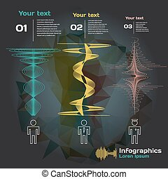 geluid, anders, mensen, golven, beroep, infographics