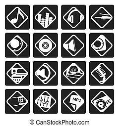 geluid, black , muziek, iconen