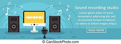 geluid, concept, opnamestudio, horizontaal, spandoek
