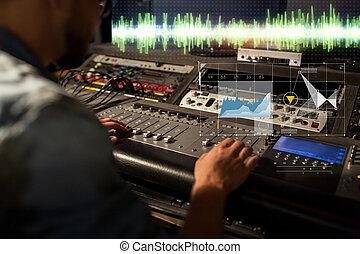geluid, console, opnamestudio, vermenging, ingenieur