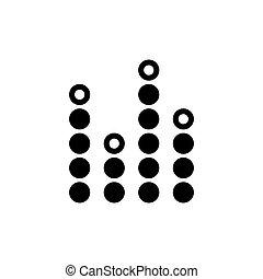 geluid, equalizer, plat, vector, muziek, golven, pictogram