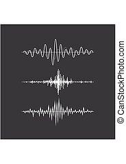 geluid, equalizer, set, technologie, grijs, musical., vrijstaand, pols, achtergrond., vector, muziek, illustratie, golven, audio